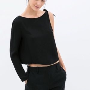 NWT Zara | Black Tie Tank Full Sleeve Top Blouse